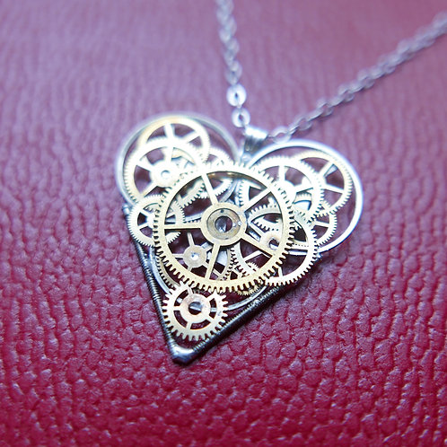 "Watch Parts Heart Necklace ""Royal"" Pendant Clockwork Mothers Gift"