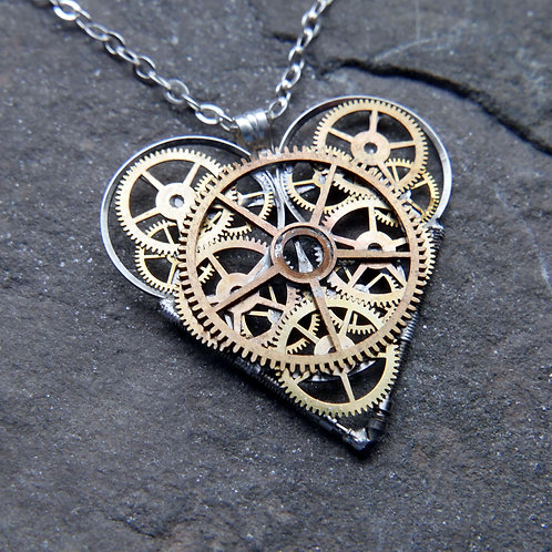 """Watch Parts Heart Necklace """"Glyn"""" Pendant Clockwork Mothers Day Gift"""