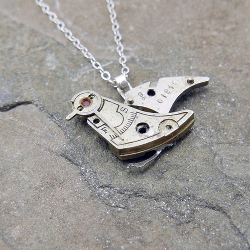 """Watch Parts Bird Pendant """"Cyril"""" Clockwork Necklace Mothers Day Gift"""