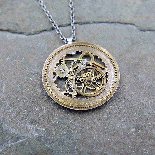 """Watch Date Wheel Necklace """"Andoyer"""" Recycled Mechanical Mothers Day Gift"""