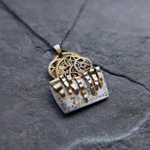 """Deconstructed Watch Dial Necklace """"Bixby"""" Cut Face Pendant Mothers Day Gift"""