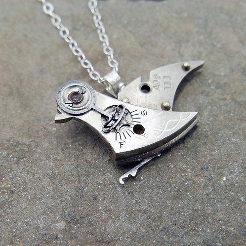 "Watch Parts Bird Pendant ""Boissevain"" Clockwork Necklace Mothers Day Gift"
