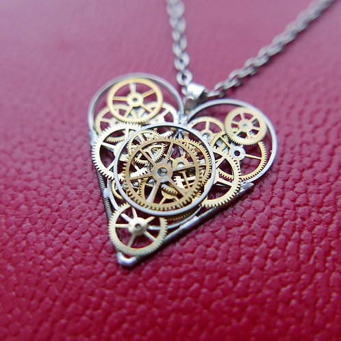 "Watch Parts Heart Necklace ""McNaught"" Pendant Clockwork Mothers Day Gift"