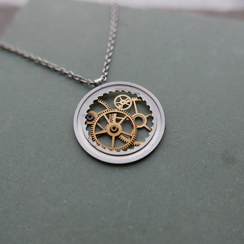 "Watch Date Wheel Necklace ""Nembus"" Recycled Mechanical Mothers Gift"