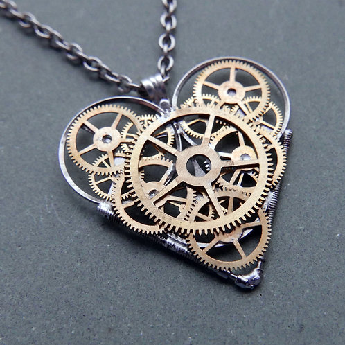 "Watch Parts Heart Necklace ""Robards"" Pendant Clockwork Mothers Day Gift"