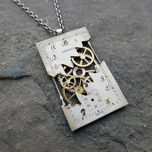 """Deconstructed Watch Dial Necklace """"Hutton"""" Cut Face Pendant Mothers Day Gift"""