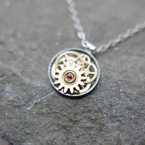 "Petite Circular Watch Gear Necklace ""Khambalia"" Elegant Mothers Day Gift"