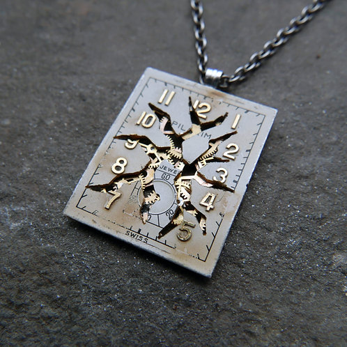 "Deconstructed Watch Dial Necklace ""Dalton"" Cut Face Pendant Mothers Day Gift"