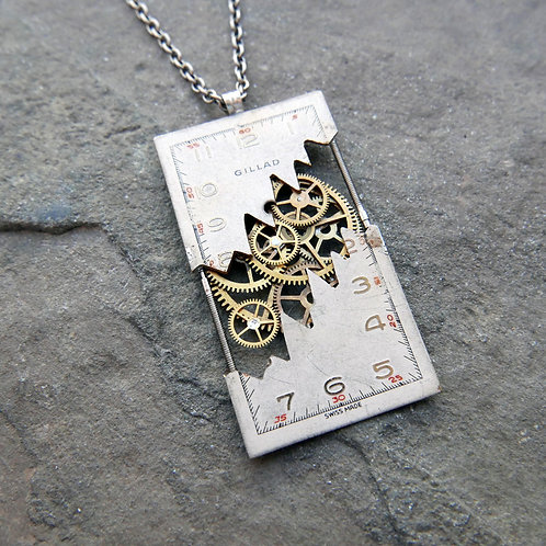 """Deconstructed Watch Dial Necklace """"Kuroda"""" Cut Face Pendant Mothers Day Gift"""