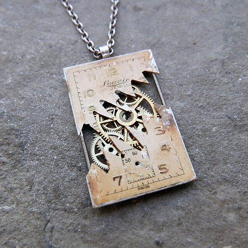 "Deconstructed Watch Dial Necklace ""Jablonka"" Cut Face Pendant Mothers Day Gift"