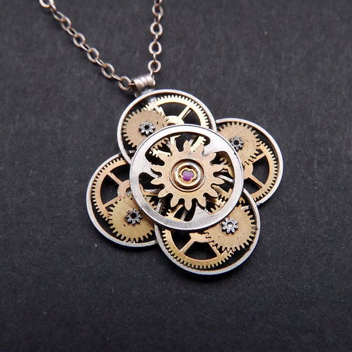 Watch Parts Flower Necklace Florey Pendant Clockwork Christmas Gift