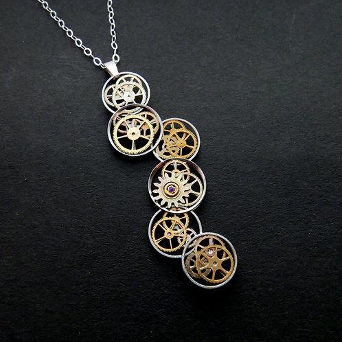 Cascading Watch Gear Necklace Sautee Elegant Steampunk Pendant