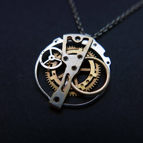 "Watch Gear Pendant ""Zeta"" Recycled Mechanical Clockwork Mothers Day Gift"
