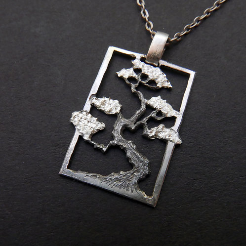 Tree Necklace No 9 Bonsai Pendant From Recycled Silver Coin