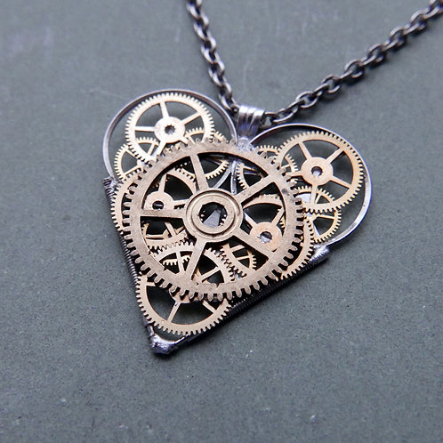 """Watch Parts Heart Necklace """"Merlin"""" Pendant Clockwork Mothers Day Gift"""
