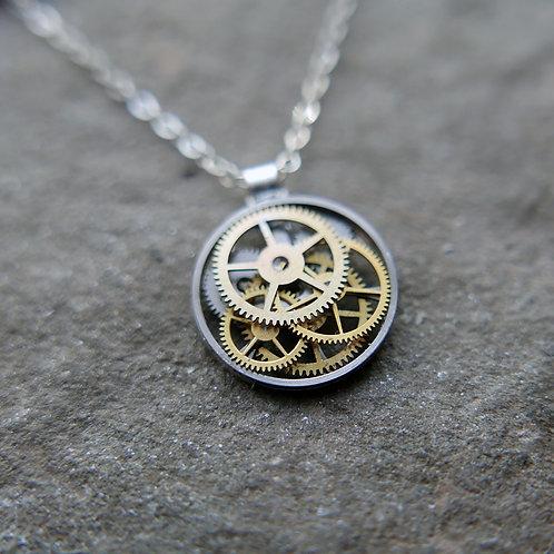 "Petite Circular Watch Gear Necklace ""Larawag"" Elegant Mothers Day Gift"