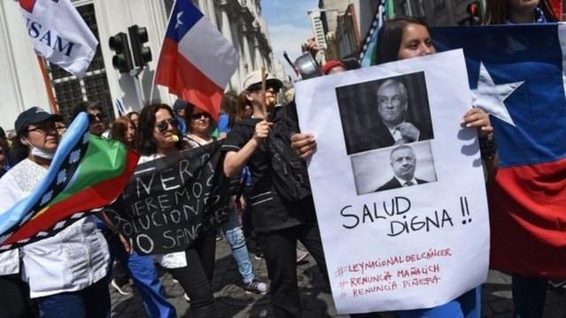 Manifestantes no Chile exigem 'saúde digna' — Foto: Getty Images via BBC