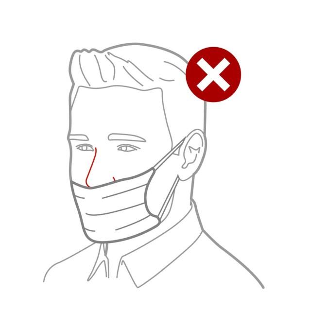 Não cubra apenas as narinas - a máscara precisa revestir o nariz inteiro. — Foto: Rodrigo Sanches/Arte G1