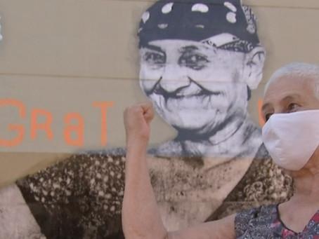 Hospital de MS pinta mural para homenagear pacientes e profissionais da luta contra o câncer