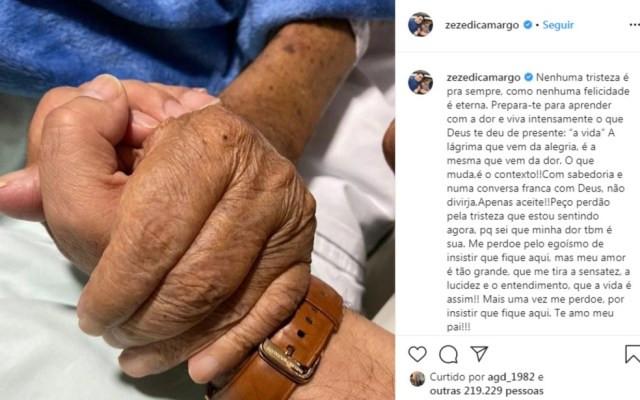 Mensagem publicada pelo cantor Zezé di Camargo em rede social, no sábado (15). — Foto: Reprodução/Instagram