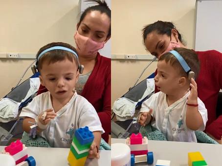 Bebê consegue reconhecer sons e a falar 'mamãe' com aparelho de hospital da USP