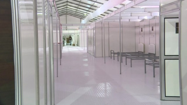 O Hospital de Campanha H.M Camp, no Pacaembu, será uma unidade de portas fechadas para pacientes transferidos da rede municipal da saúde — Foto: TV Globo/Divulgação