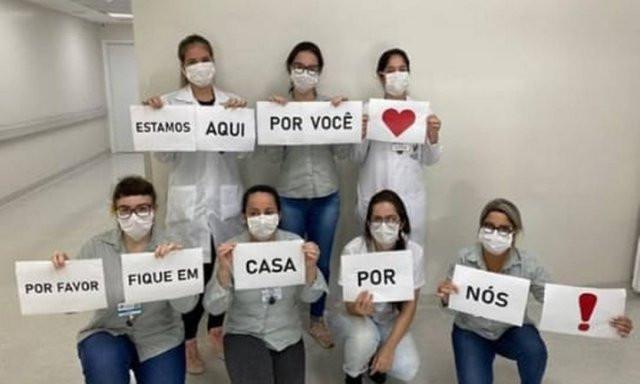 Profissionais do Hospital Santo Antônio (Blumenau, SC) Foto: Reprodução