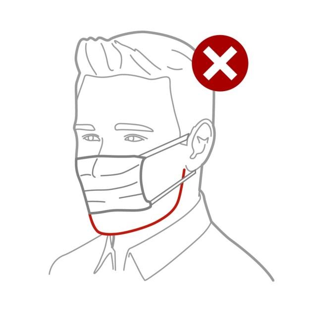 A máscara deve ir até o queixo, para melhorar a fixação no rosto. — Foto: Rodrigo Sanches/Arte G1