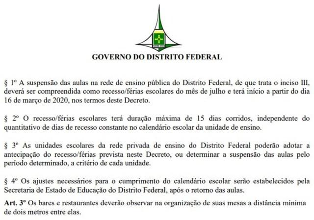 Trecho do decreto que prevê novas medidas contra o coronavírus — Foto: DODF/Reprodução