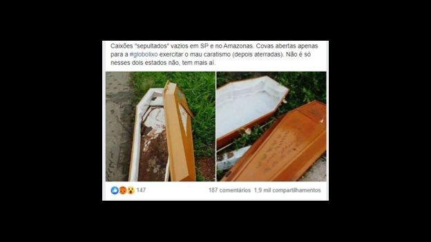 Fake news sobre caixões vazios