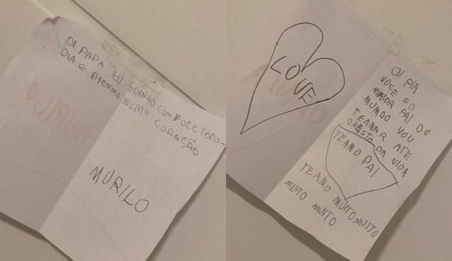 Filhos deixaram mensagens de carinho para receber o pai que foi curado do coronavírus — Foto: Arquivo pessoal