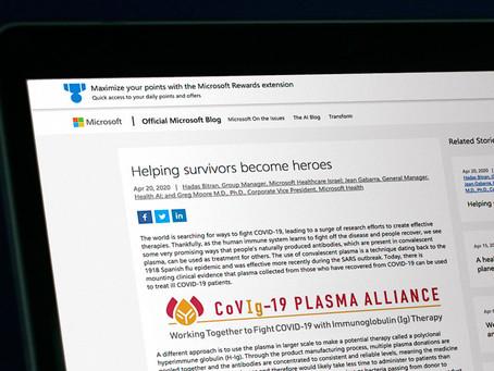Covid-19: Microsoft cria bot que recruta potenciais doadores de plasma