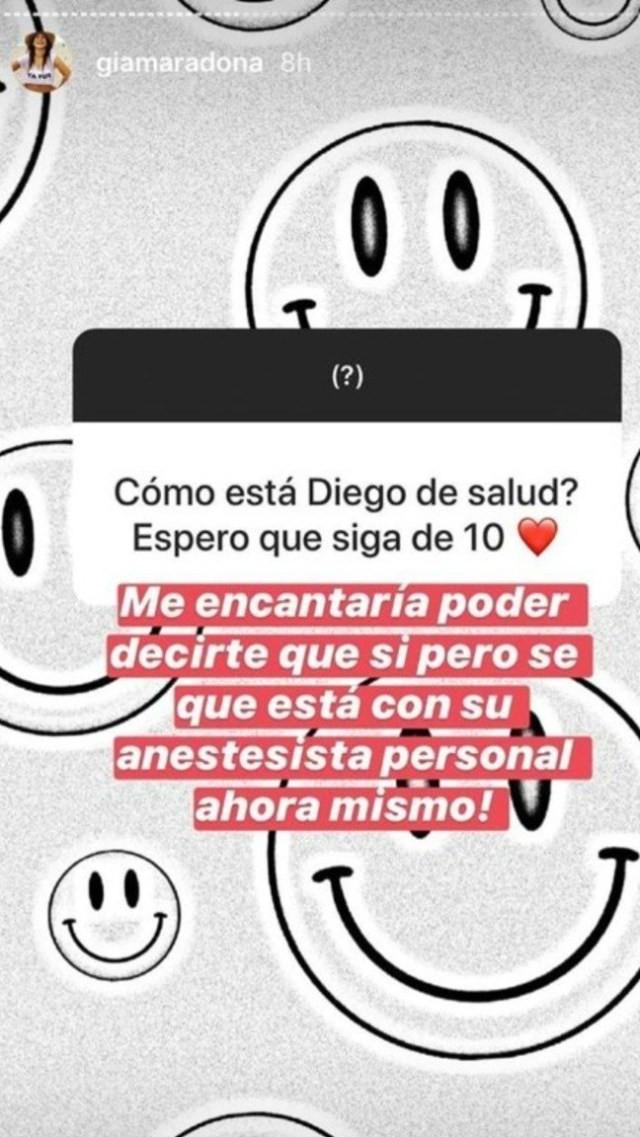 Filha de Maradona responde pergunta de seguidor no Instagram / Reprodução
