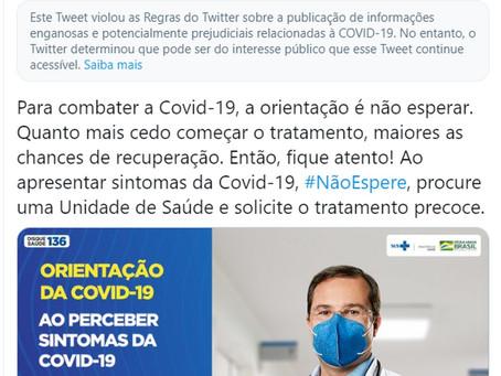 Twitter faz alerta em post do Ministério da Saúde de informação enganosa