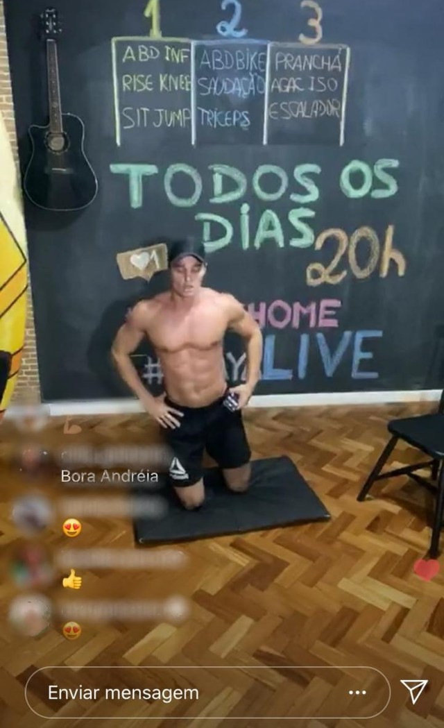 Personal Trainer Norton Mello faz vídeos de treinos ao vivo em rede social — Foto: Reprodução/Redes sociais