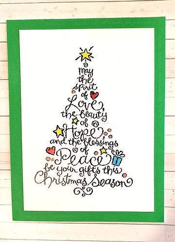 Christmas Card-Love,Hope, Peace-Green
