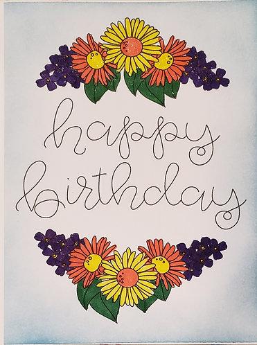 Happy Birthday Card- Flowers