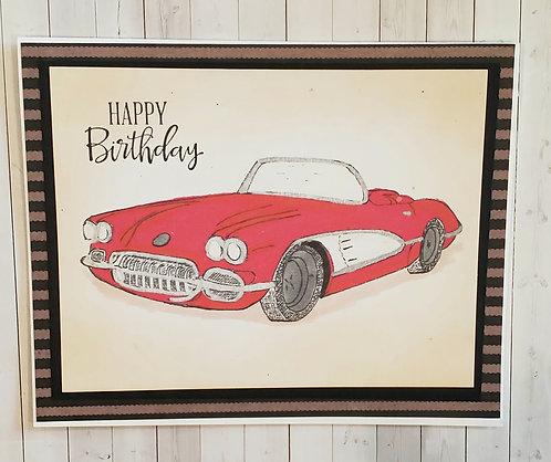 Happy Birthday Card-Corvette