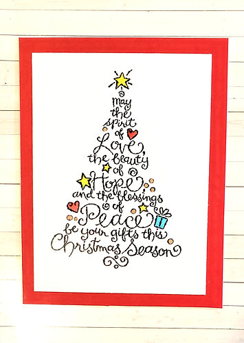 Christmas Card- Love, Hope,Peace -Red