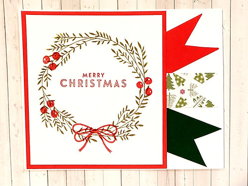 Merry Christmas -Wreath-Red