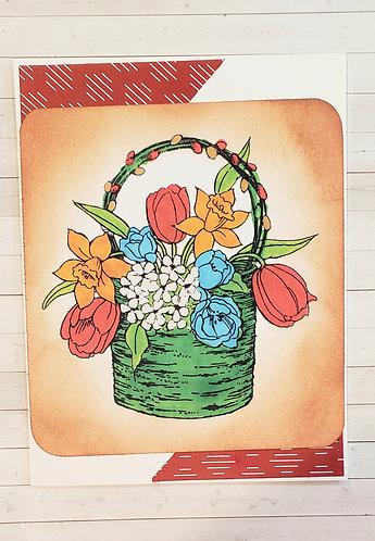 Christmas -Bouquet Green Basket