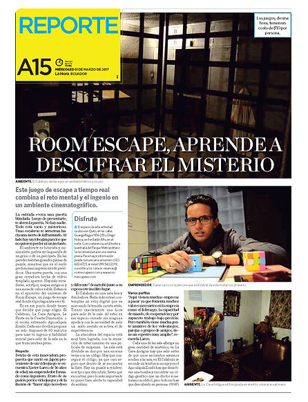 Room Escape en Diario La Hora