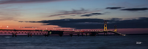 Mackinac Bridge Sunset Panoramic