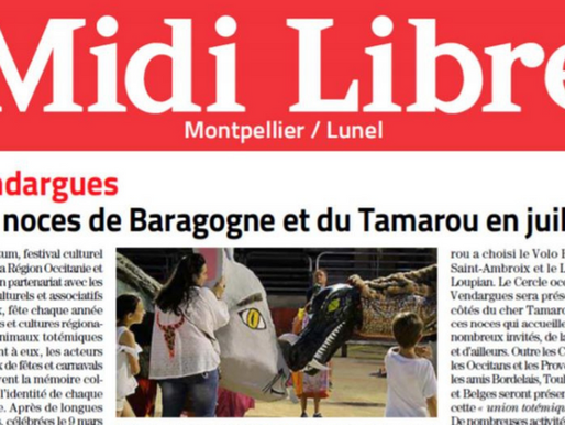 Article Midi Libre : Les noces de Baragogne et du Tamarou en juillet 2021