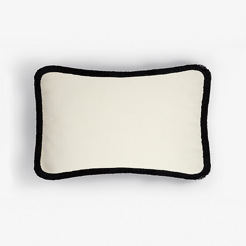 WOOL Happy Pillow | White and black
