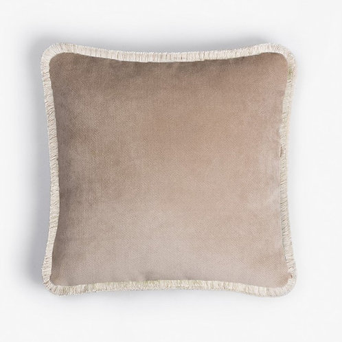 Happy Pillow | Beige and white