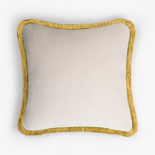 Happy Pillow | Dirty white and Yellow