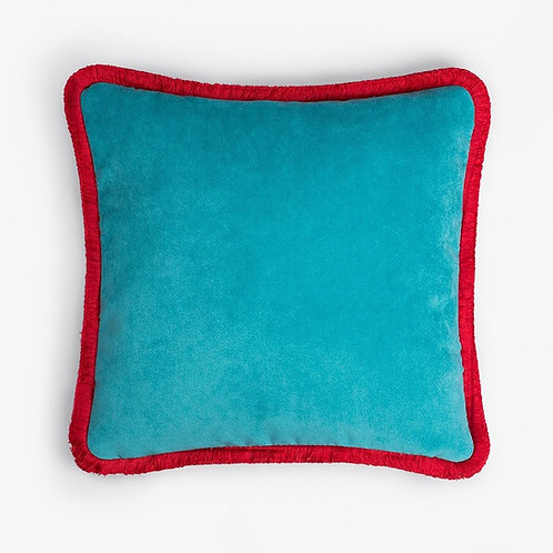 Happy Pillow | Light blue and red