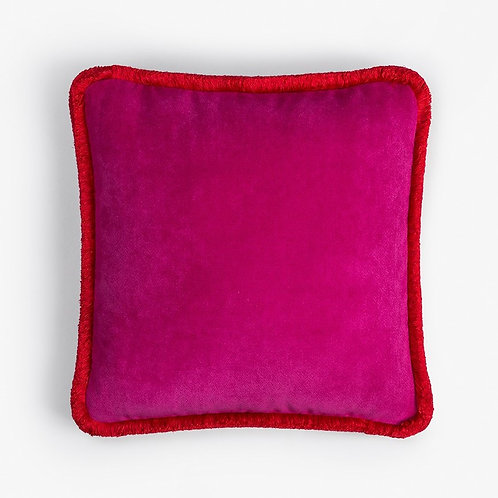Happy Pillow | Fucsia and red