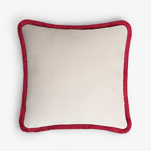 Happy Pillow | Dirty white and red